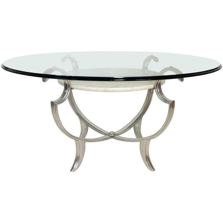 Iron Marble Top Coffee Table: Henredon Silvered Iron, Marble And Glass Top Multi-Tier