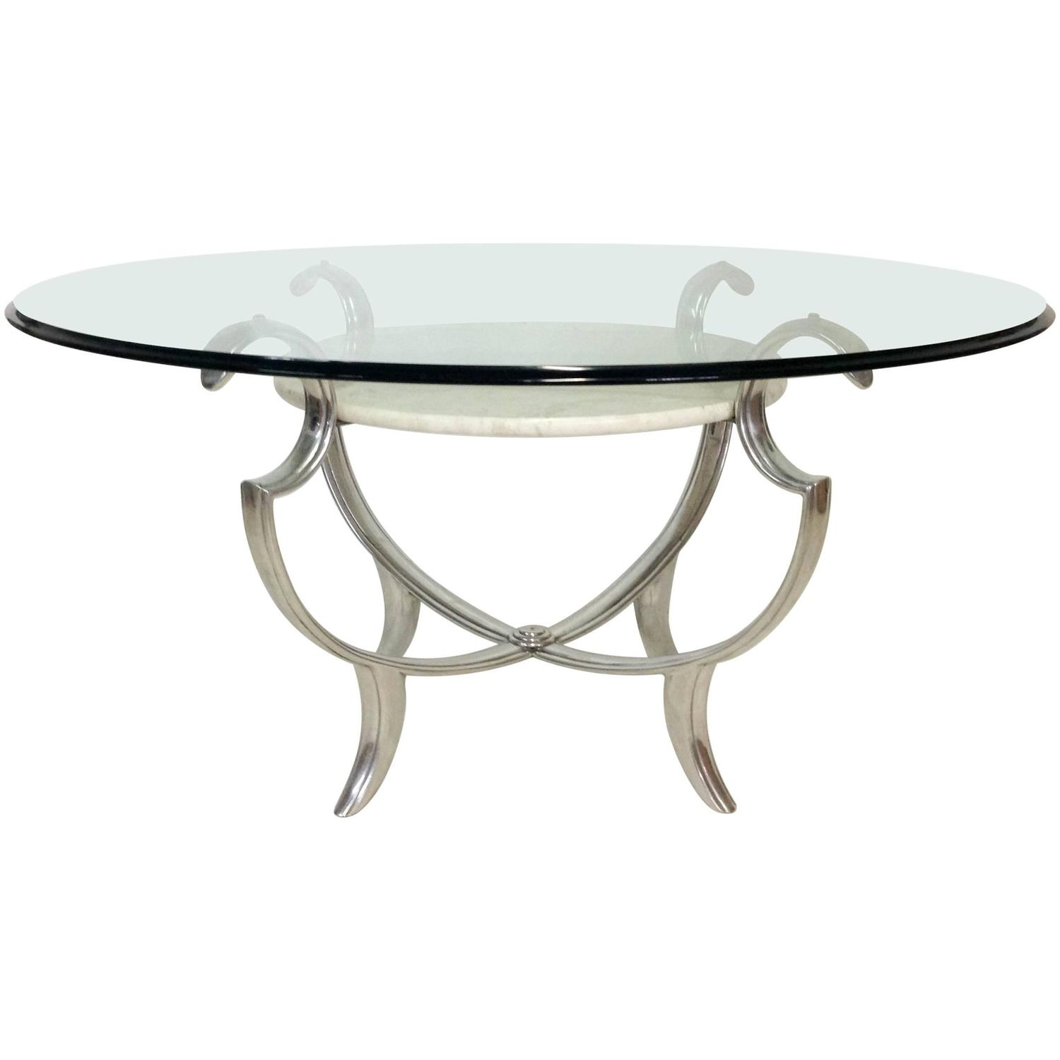 Henredon Silvered Iron Marble And Glass Top Multi Tier Cocktail Table At 1stdibs