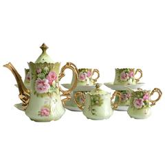 Vintage 17-Piece Porcelain Roses Tea/ Coffee Set