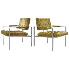 Pair of Milo Baughman for Thayer Coggin Tufted Chrome Lounge Chairs