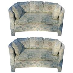 Pair of Upholstered 1950s Curved Loveseats
