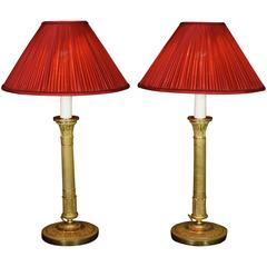 Pair of French Empire Style Candlestick Lamps with Silk Shades