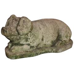French Garden Pig in Cast Stone
