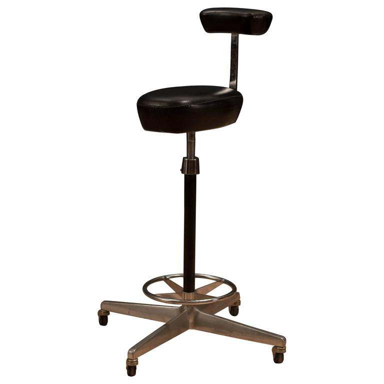Herman Miller George Nelson Leather Drafting Stool At 1stdibs