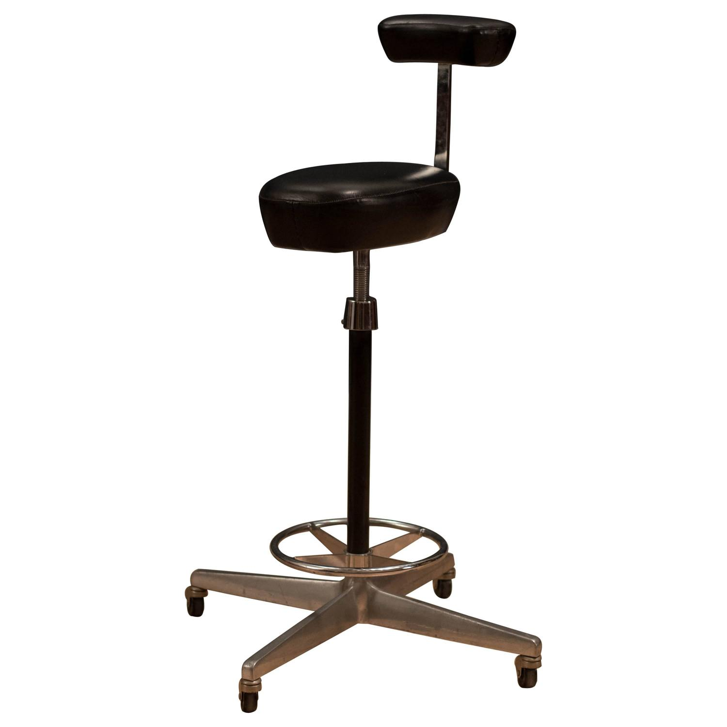 Herman Miller George Nelson Leather Drafting Stool For