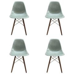 Four Herman Miller Eames Seafoam Dining Chairs