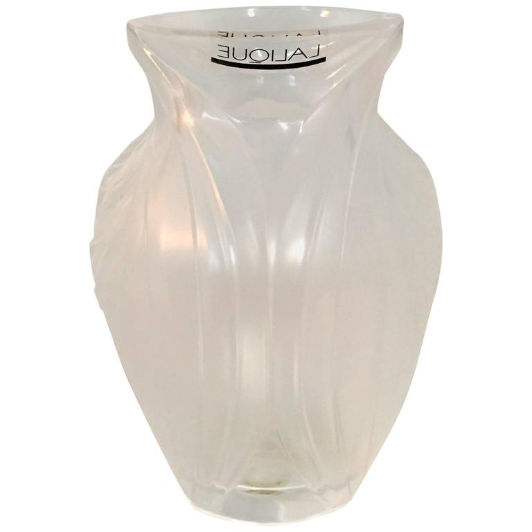 Lalique France Frosted And Raised Crystal Bud Vase At 1stdibs
