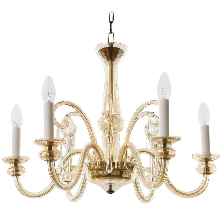 Amber Tone Glass Chandelier 1930s For Sale At 1stdibs