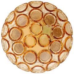 Flush Mount Light or Sconce, Amber Tone Glass, 1970s