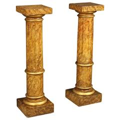 20th Century Italian Lacquered Pair of Columns