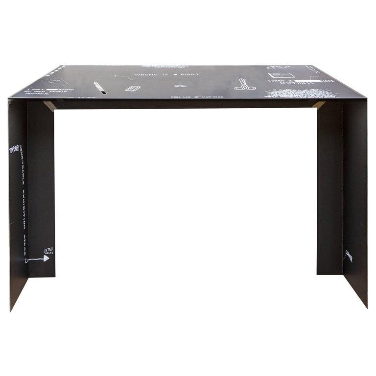 21st Century by Giovanni Casellato & MarCo Raparelli Metal Desk Table Black  For Sale