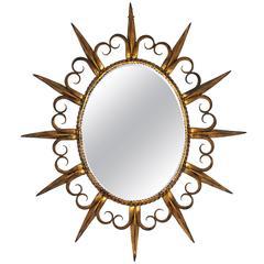 Spanish, 1960s Fleur-de-Lys Gilt Iron Sunsburst Mirror