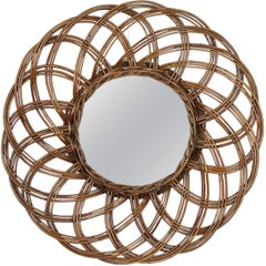 Spanish 1960s Handcrafted Rattan Flower Burst Circular Mirror