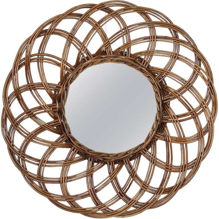 Spanish 1960s Handcrafted Rattan Flower Burst Circular Mirror For Sale
