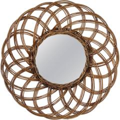 Spanish 1960s Handcrafted Rattan Flower Burst Circular Mirror