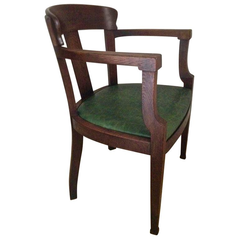 Art Deco Office Chair: Early Solid Oak Art Deco Desk Chair For Sale At 1stdibs