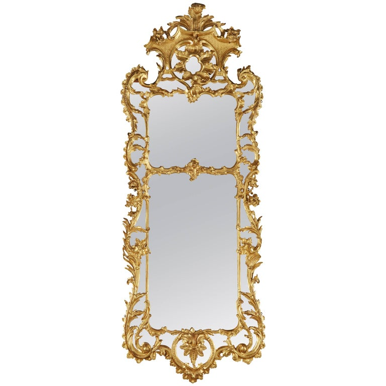 Large English Giltwood Mirror in the 18th Century Style For Sale