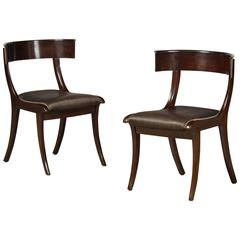 Pair of Late Empire Klismos Chairs with Original Horsehair Cover
