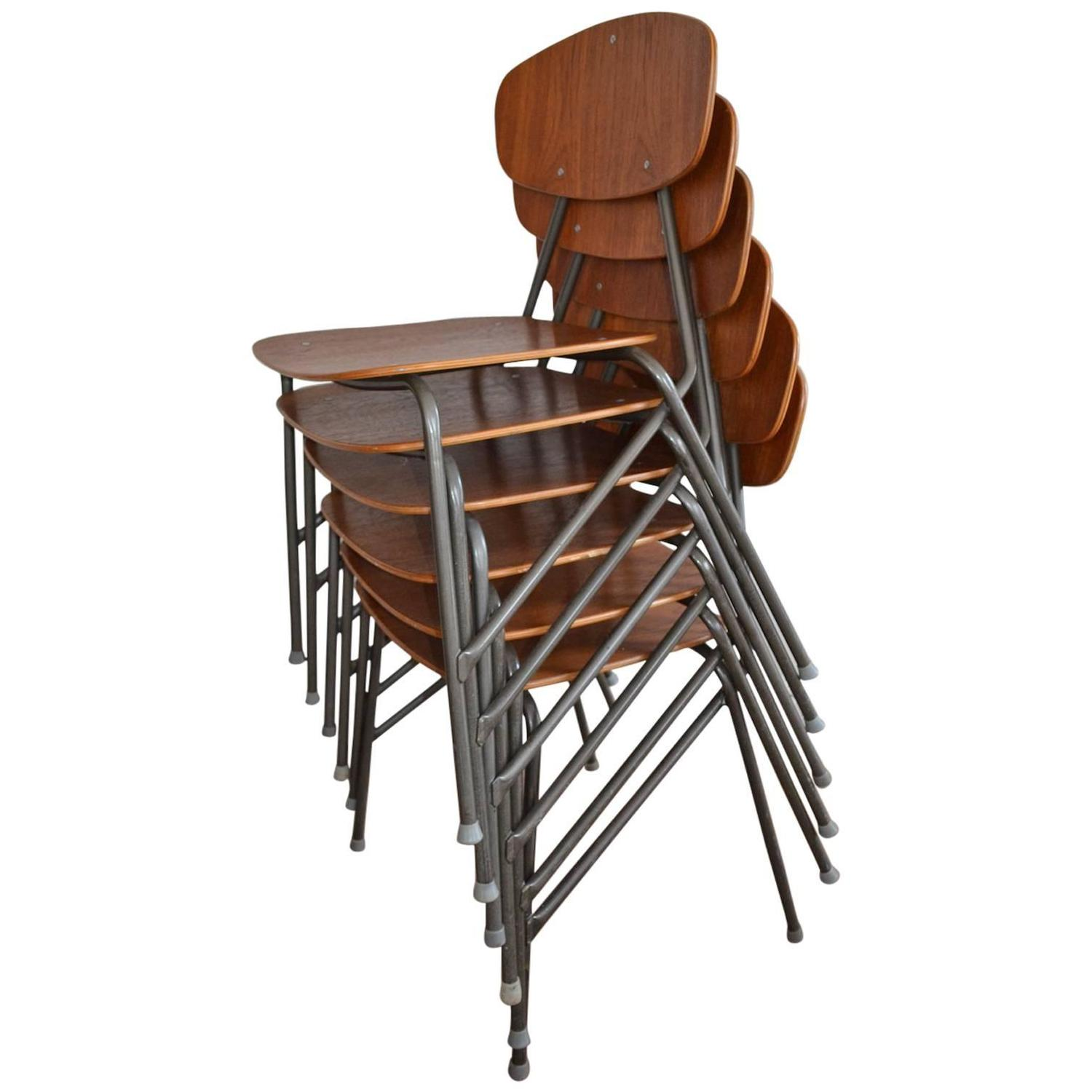Vintage Industrial Remploy Dining Table And Six Stacking Chairs For Sale At  1stdibs