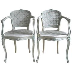Early 20th Century Pair of French Original Painted Caned Chairs