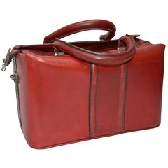 Vintage Italian Red Leather Satchel or Doctors Bag