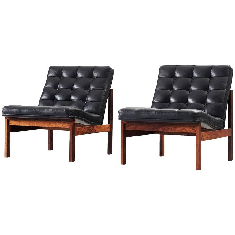 this pair of easy chairs in black leather for france s n is no