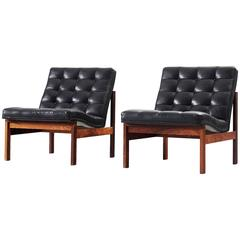 Pair of Easy Chairs in Black Leather for France & Søn