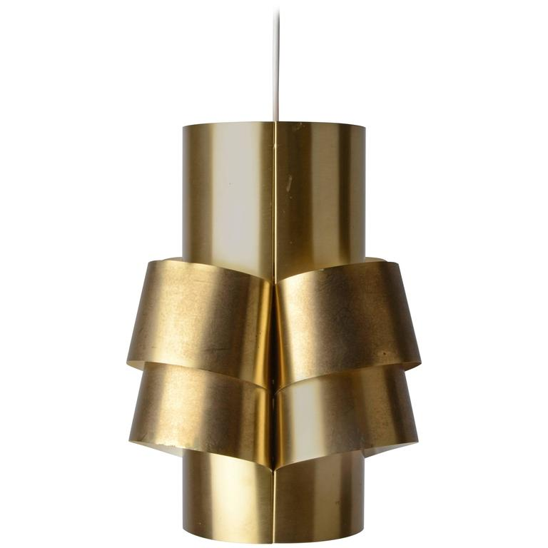 Sculptural Pendant Lamp in Brass by Hans-Agne Jakobsson, Markaryd, Sweden