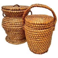 Two 19th Century English Lidded Farm Baskets