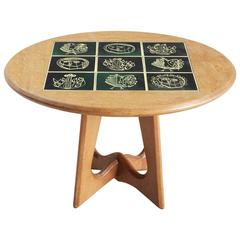 Guillerme & Chambron Coffee Table in Oak with Ceramic Tiles