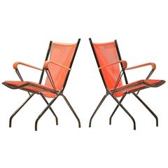 Mid-Century French Design Jean René Caillette Style Wire Foldable Easy Chairs