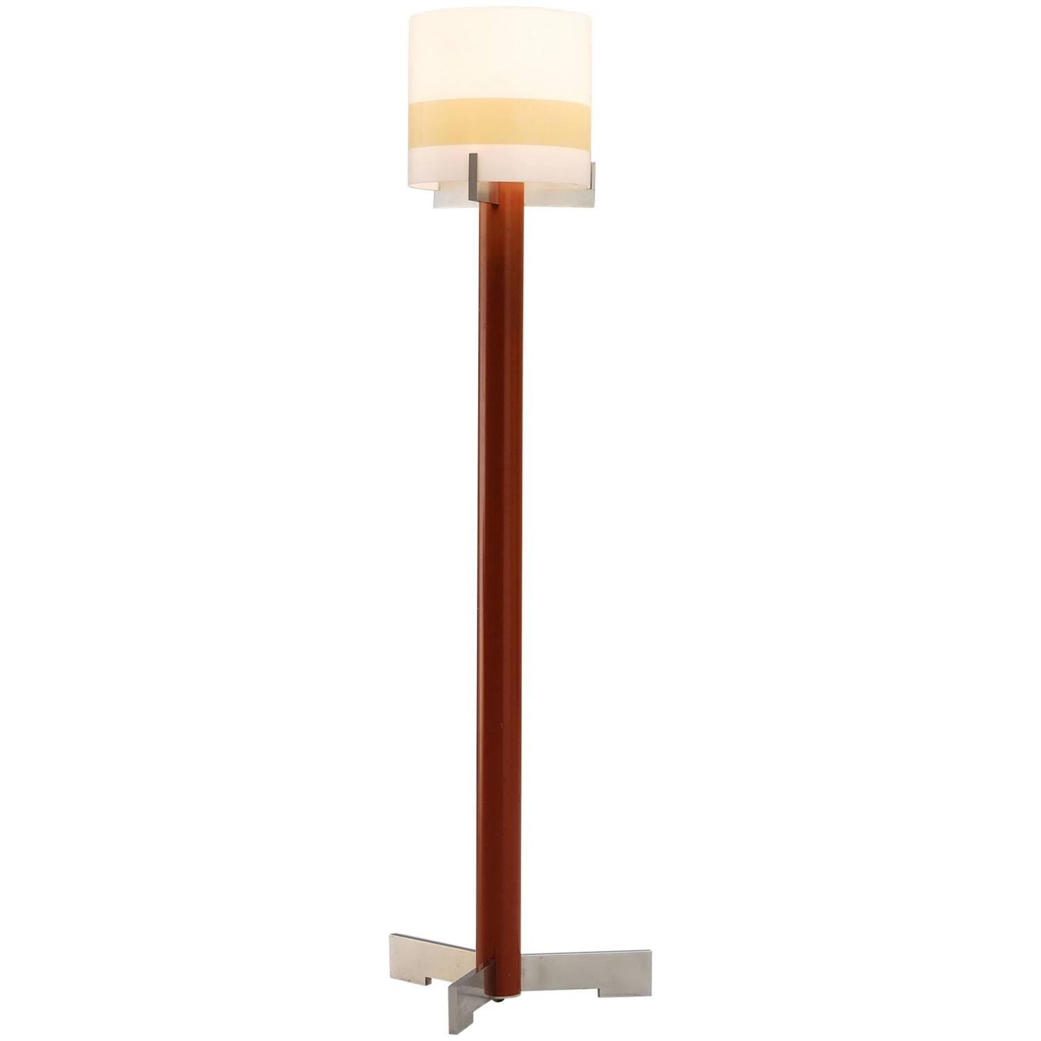 Red floor lamp in metal and glass for sale at 1stdibs for Red 5 light floor lamp