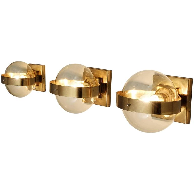 Set of 2 Wall Lights in Brass and Glass 1