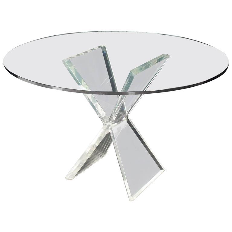 Lucite X-Base Base Gueridon Center Dining Table