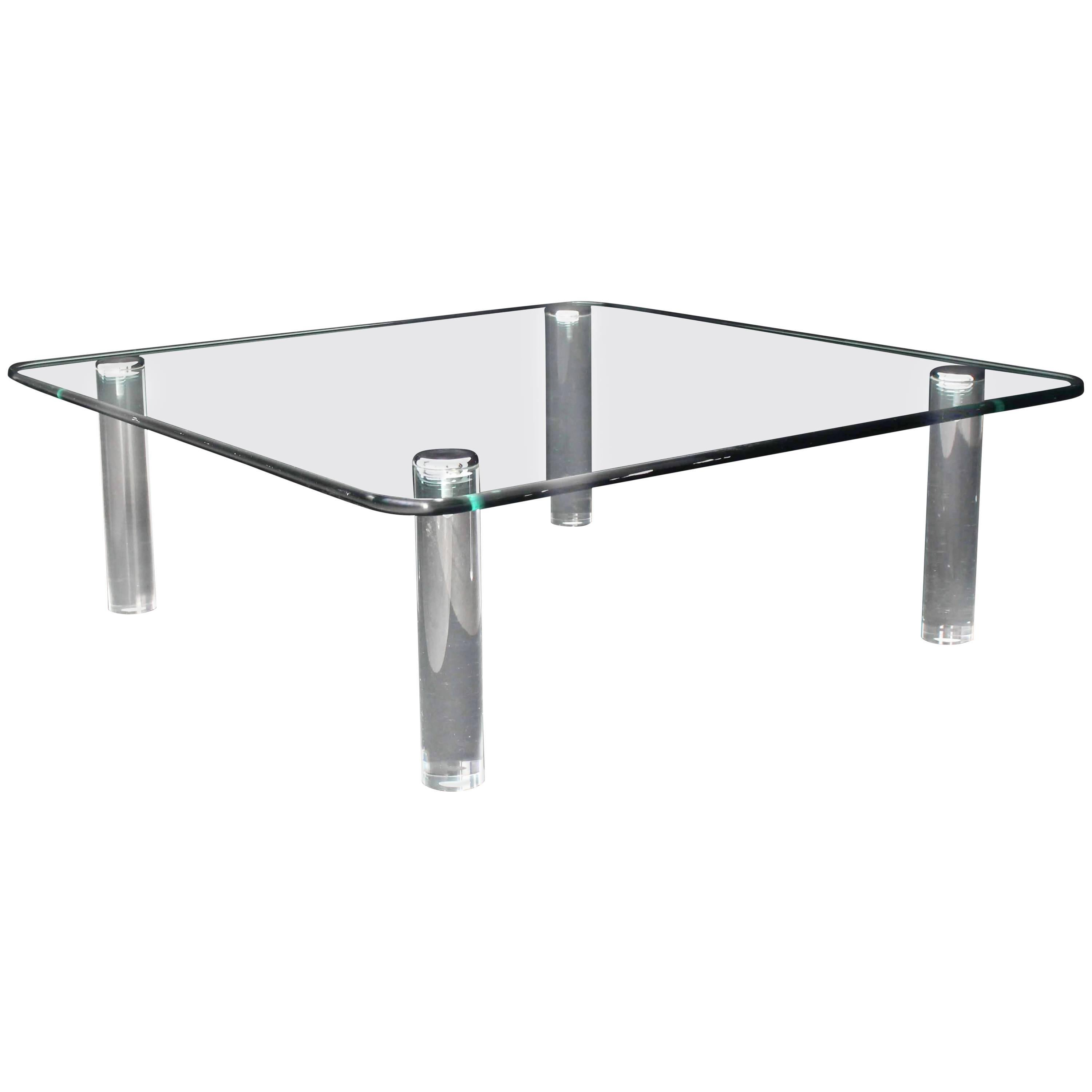 Large Square Rounded Corners Glass Top Coffee Table On Cylinder