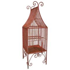 Large French 19th Century Wrought Iron Bird Cage in a Pagoda Shape
