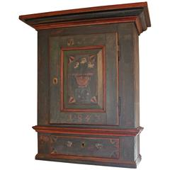 Small Antique Cabinet in Painted Pinewood, 1843
