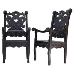 Baroque Style Carved Wood Armchairs, France, circa 1900s