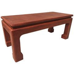 Karl Springer Style Grass Cloth Petite Table or Bench, Orange Lacquer