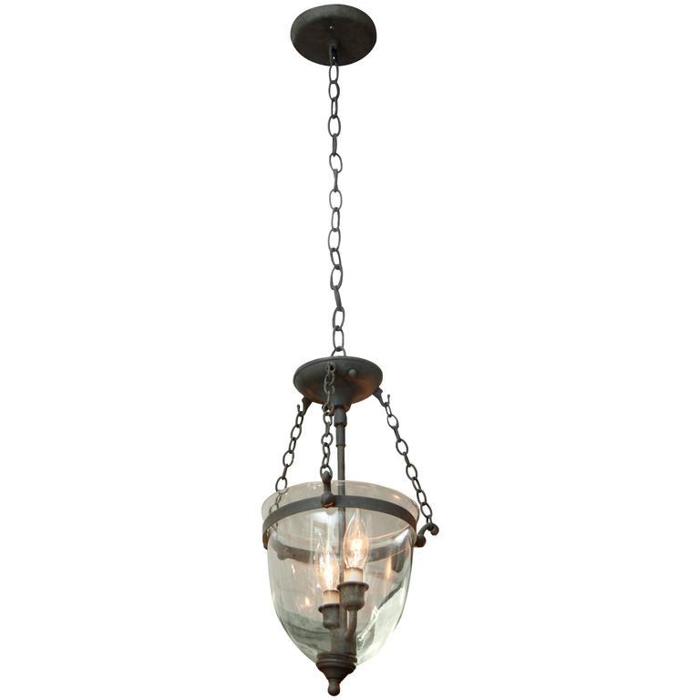 1930s Bell Jar Pendant Light With Dark Bronze Finish For