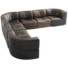 De Sede DS15 Sectional Sofa in Patinated Brown Buffalo Leather