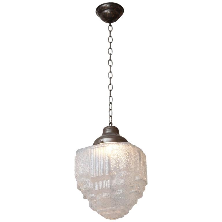 1930s Textured Opalescent Glass Art Deco Ice Cube Or Skyser Pendant Light