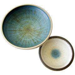 Rupert Deese Pair of Stoneware Compotes