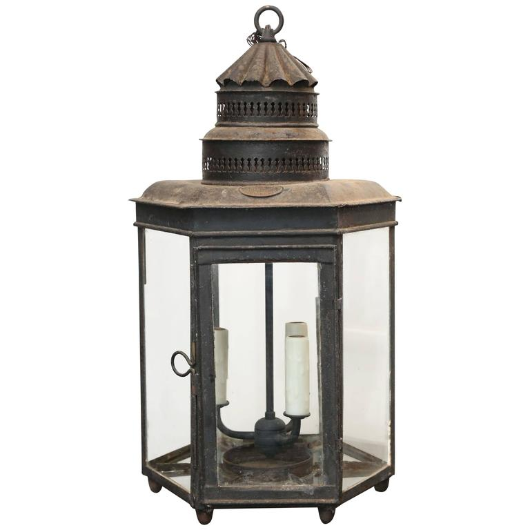 Antique 19th Century English Iron Hexagonal Lantern For
