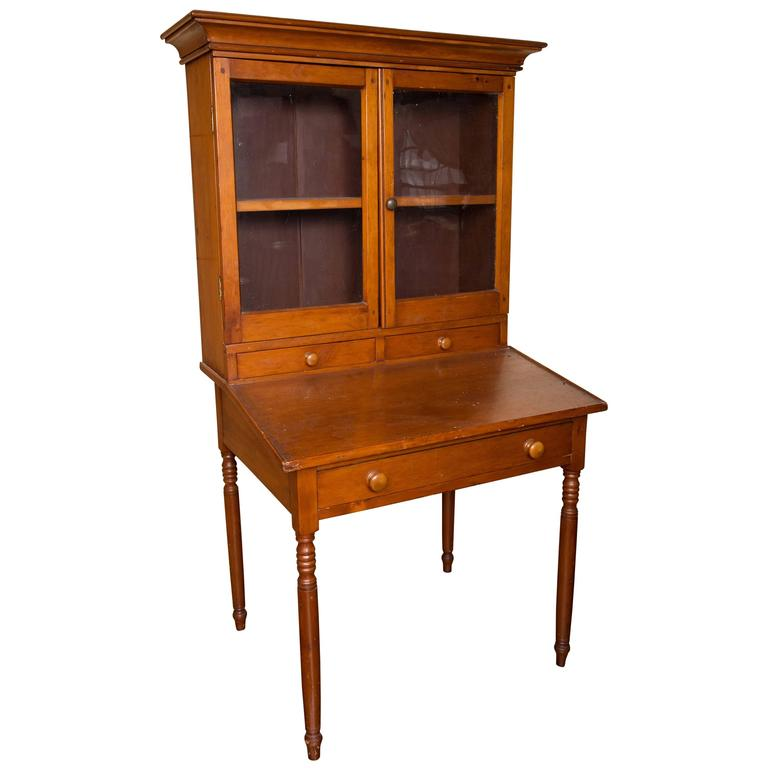 Early 19th Century Country Pine Secretary For Sale