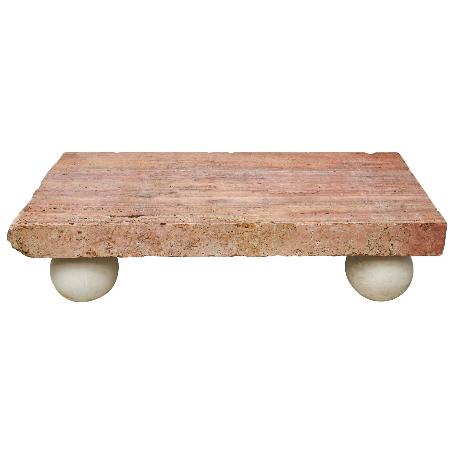 Rouge Royale Marble Slab Coffee Table For Sale at 1stdibs