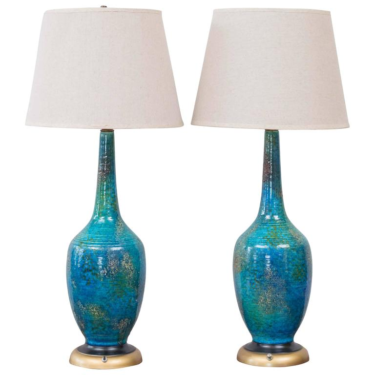 Pair Of Rimini Blue Ceramic Table Lamps By Bitossi For Raymor For Sale