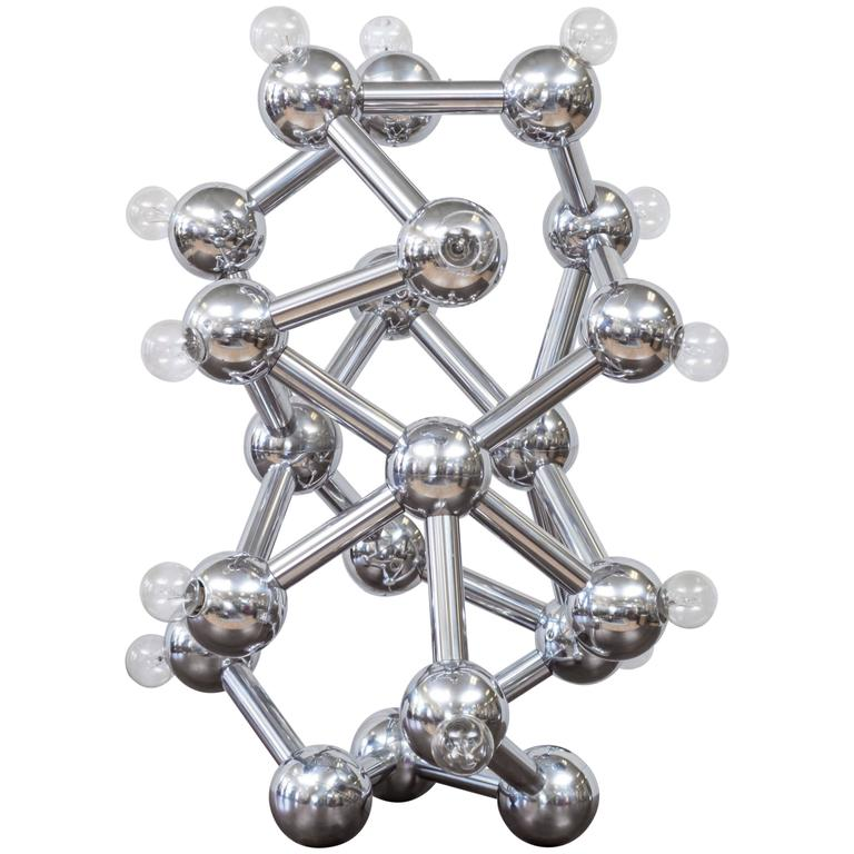 Spectacular Chrome Eighteen-Light Molecule Lamp by Torino