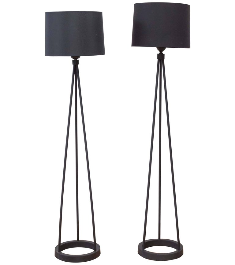 Black Cast Iron Tripod Floor Lamp by Robert Bulmore For Sale