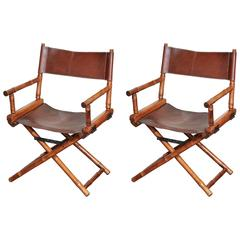 Pair of Bamboo and Leather Directors Chairs, circa 1960